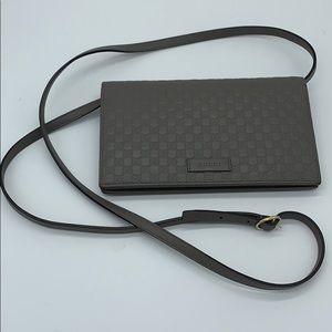 Gucci grey leather micro gg guccissima crossbody